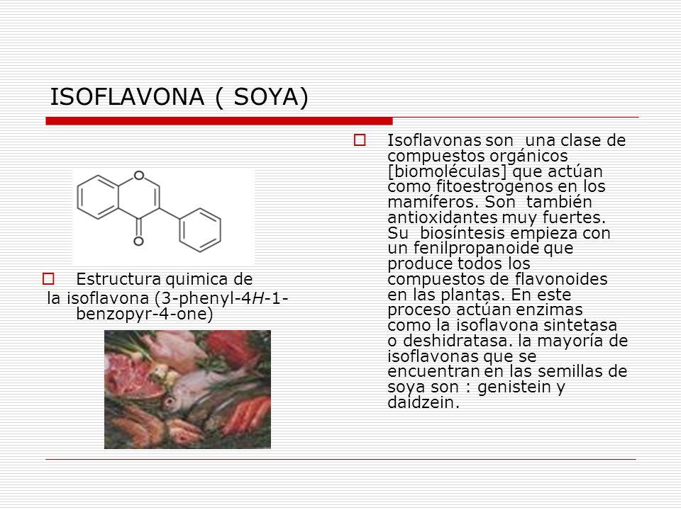 ISOFLAVONA ( SOYA) Estructura quimica de la isoflavona (3-phenyl-4H-1- benzopyr-4-one) Isoflavonas son una clase de compuestos orgánicos [biomoléculas