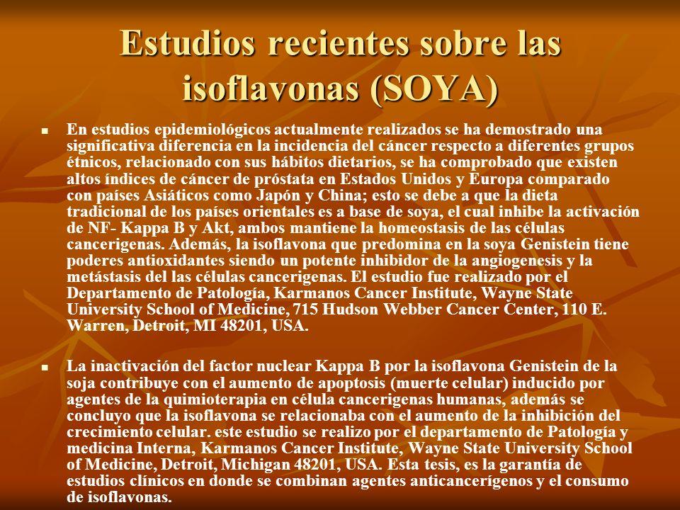 Estudios recientes sobre las isoflavonas (SOYA) En estudios epidemiológicos actualmente realizados se ha demostrado una significativa diferencia en la