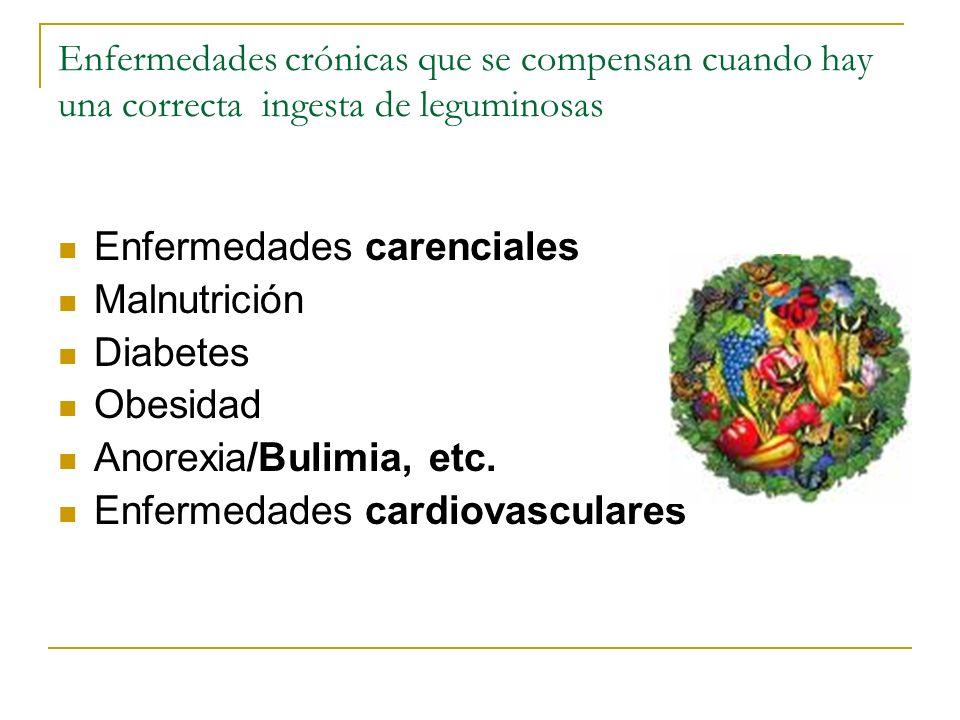 Enfermedades crónicas que se compensan cuando hay una correcta ingesta de leguminosas Enfermedades carenciales Malnutrición Diabetes Obesidad Anorexia