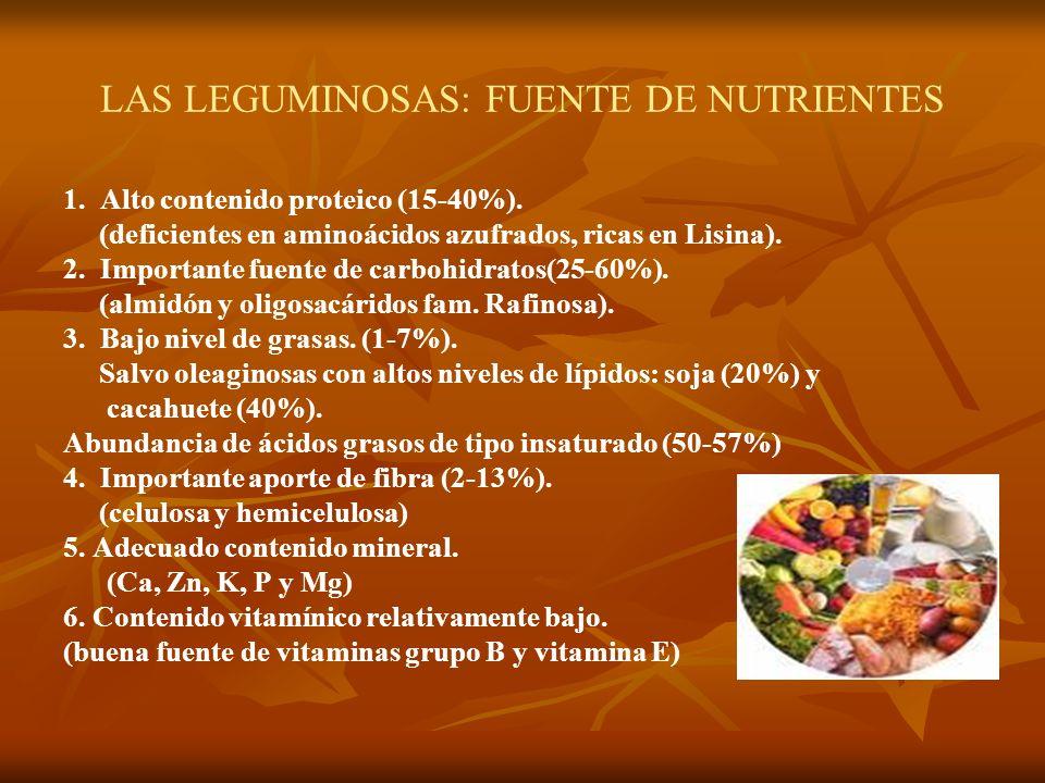 LAS LEGUMINOSAS: FUENTE DE NUTRIENTES 1. Alto contenido proteico (15-40%). (deficientes en aminoácidos azufrados, ricas en Lisina). 2. Importante fuen