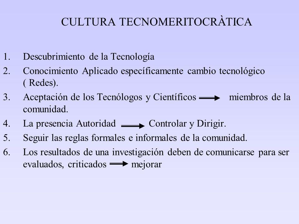 CULTURA TECNOMERITOCRÀTICA 1.Descubrimiento de la Tecnología 2.Conocimiento Aplicado específicamente cambio tecnológico ( Redes). 3.Aceptación de los
