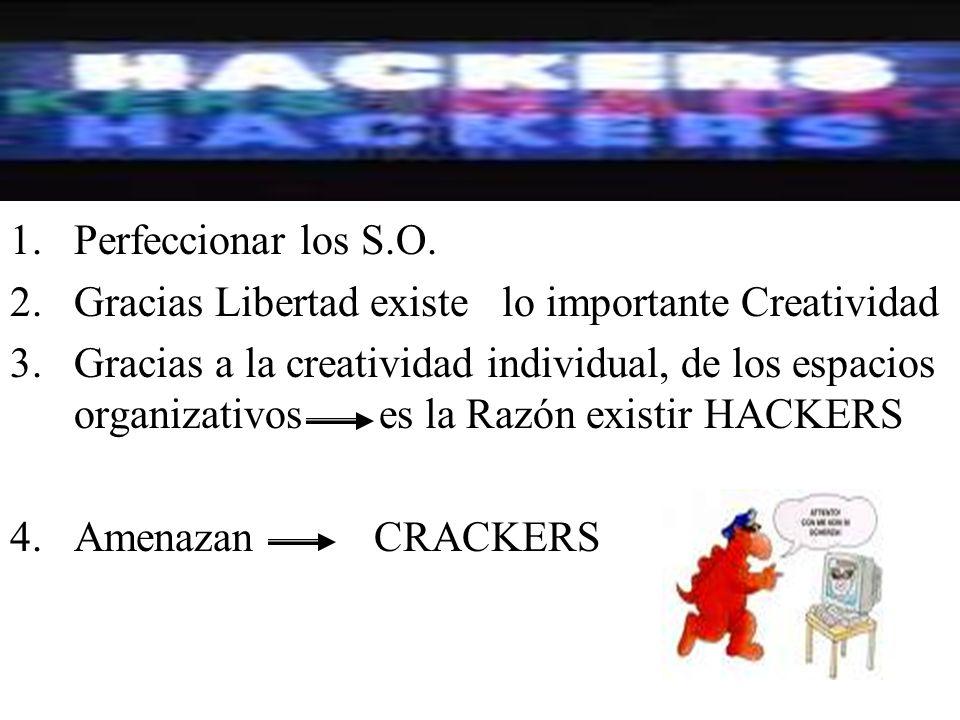 1.Perfeccionar los S.O. 2.Gracias Libertad existe lo importante Creatividad 3.Gracias a la creatividad individual, de los espacios organizativos es la