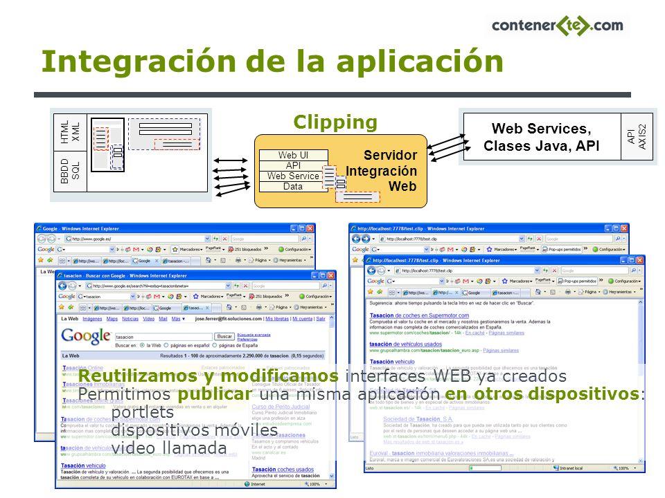 Integración de la aplicación Servidor Integración Web Web UI API Web Service Data Web Services, Clases Java, API API AXIS2 BBDD SQL HTML XML Clipping