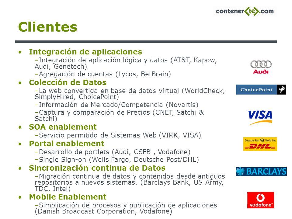 Clientes Integración de aplicaciones –Integración de aplicación lógica y datos (AT&T, Kapow, Audi, Genetech) –Agregación de cuentas (Lycos, BetBrain)