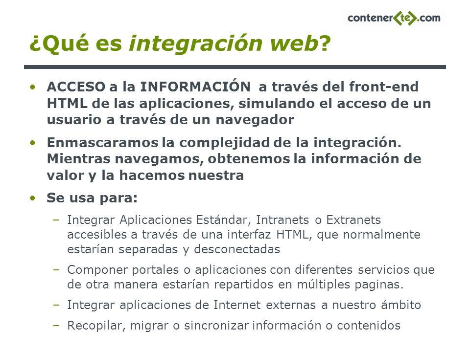 ¿Qué es integración web? ACCESO a la INFORMACIÓN a través del front-end HTML de las aplicaciones, simulando el acceso de un usuario a través de un nav