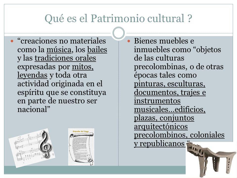 Qué es el Patrimonio cultural ? creaciones no materiales como la música, los bailes y las tradiciones orales expresadas por mitos, leyendas y toda otr