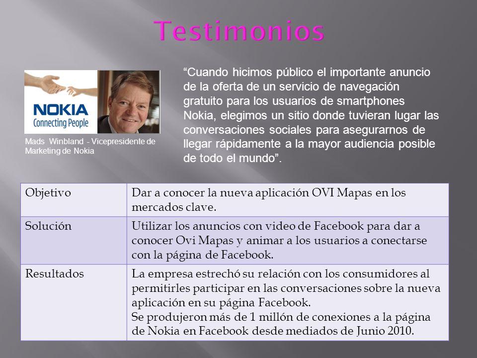 Mads Winbland - Vicepresidente de Marketing de Nokia Cuando hicimos público el importante anuncio de la oferta de un servicio de navegación gratuito p