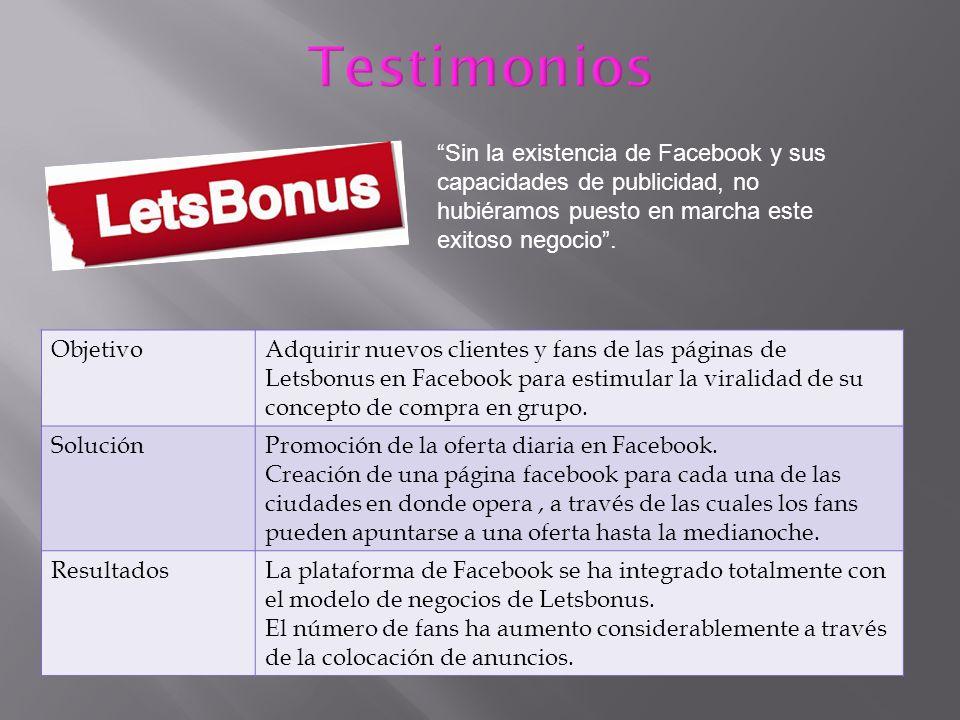 ObjetivoAdquirir nuevos clientes y fans de las páginas de Letsbonus en Facebook para estimular la viralidad de su concepto de compra en grupo. Solució