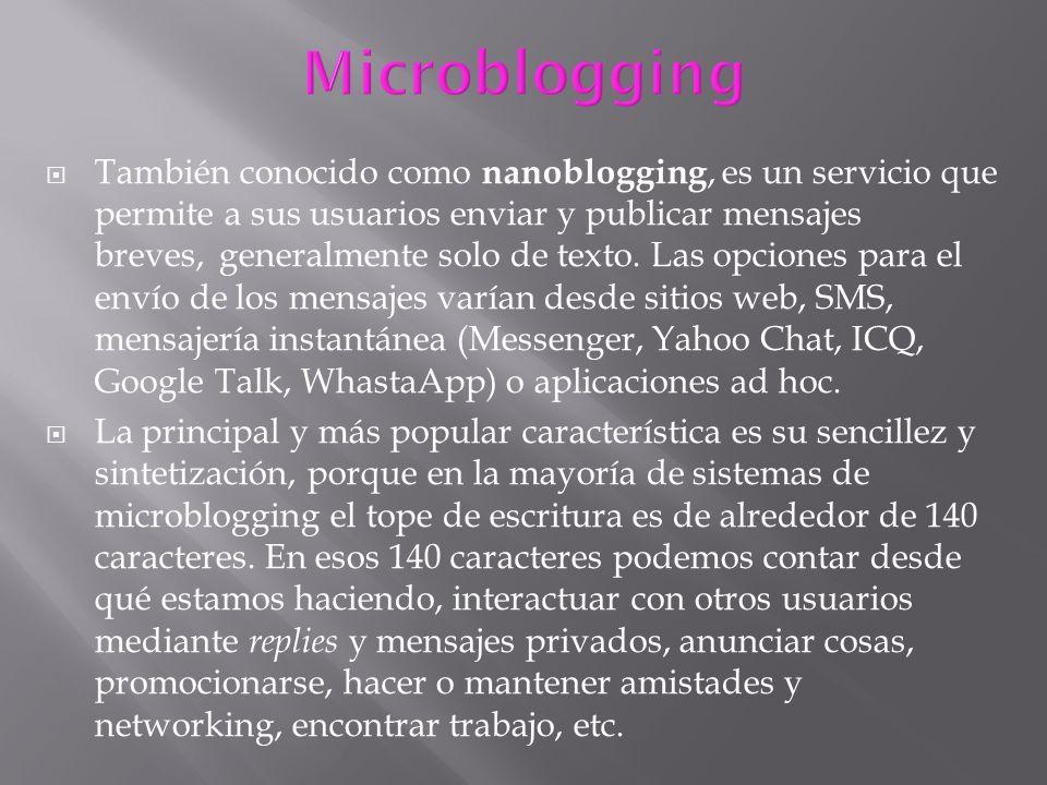 También conocido como nanoblogging, es un servicio que permite a sus usuarios enviar y publicar mensajes breves, generalmente solo de texto. Las opcio