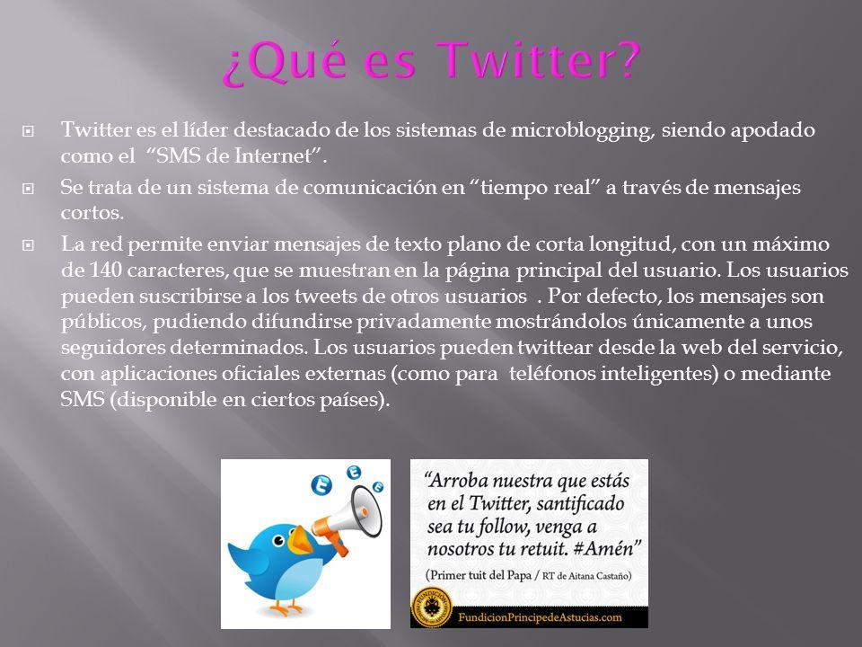 Twitter es el líder destacado de los sistemas de microblogging, siendo apodado como el SMS de Internet. Se trata de un sistema de comunicación en tiem