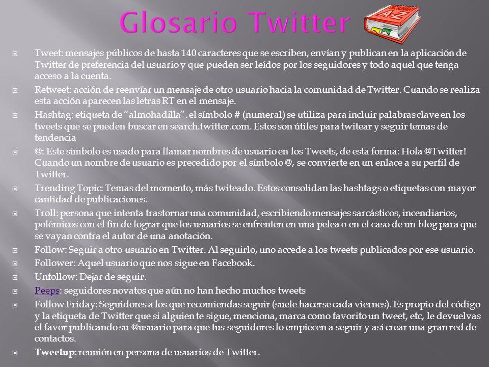 Tweet: mensajes públicos de hasta 140 caracteres que se escriben, envían y publican en la aplicación de Twitter de preferencia del usuario y que puede