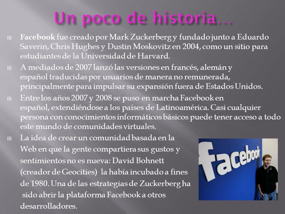 Facebook fue creado por Mark Zuckerberg y fundado junto a Eduardo Saverin, Chris Hughes y Dustin Moskovitz en 2004, como un sitio para estudiantes de la Universidad de Harvard.