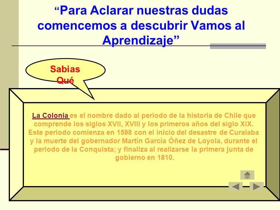 Para Aclarar nuestras dudas comencemos a descubrir Vamos al Aprendizaje La Colonia La Colonia es el nombre dado al periodo de la historia de Chile que