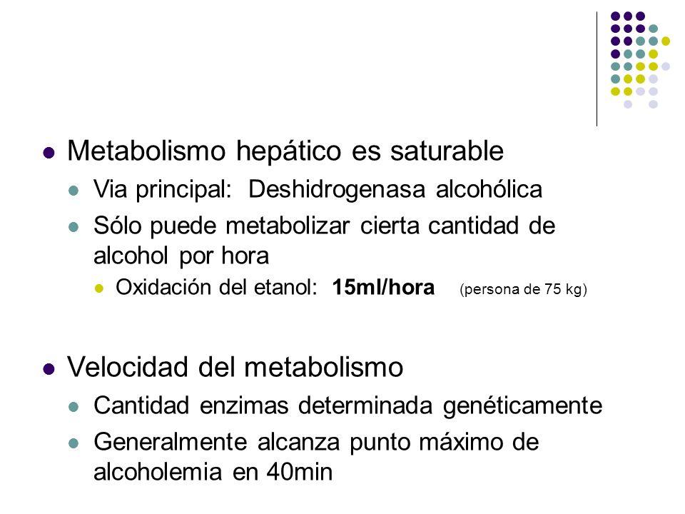 Metabolismo hepático es saturable Via principal: Deshidrogenasa alcohólica Sólo puede metabolizar cierta cantidad de alcohol por hora Oxidación del et