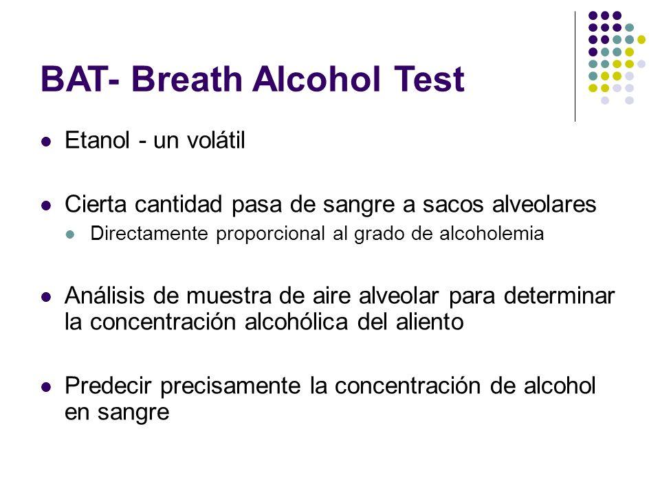 BAT- Breath Alcohol Test Etanol - un volátil Cierta cantidad pasa de sangre a sacos alveolares Directamente proporcional al grado de alcoholemia Análi