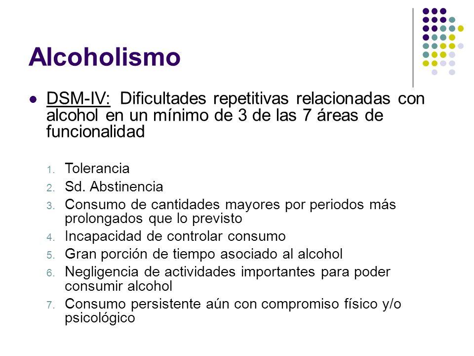 Alcoholismo DSM-IV: Dificultades repetitivas relacionadas con alcohol en un mínimo de 3 de las 7 áreas de funcionalidad 1. Tolerancia 2. Sd. Abstinenc
