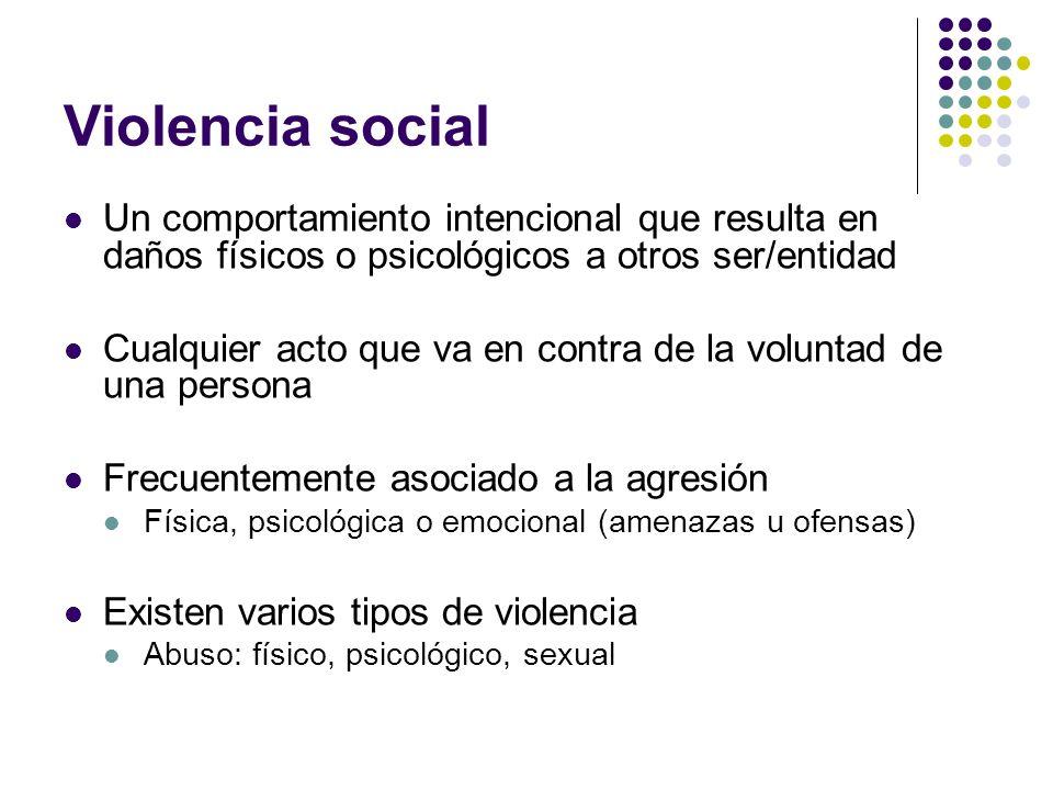 Violencia social Un comportamiento intencional que resulta en daños físicos o psicológicos a otros ser/entidad Cualquier acto que va en contra de la v