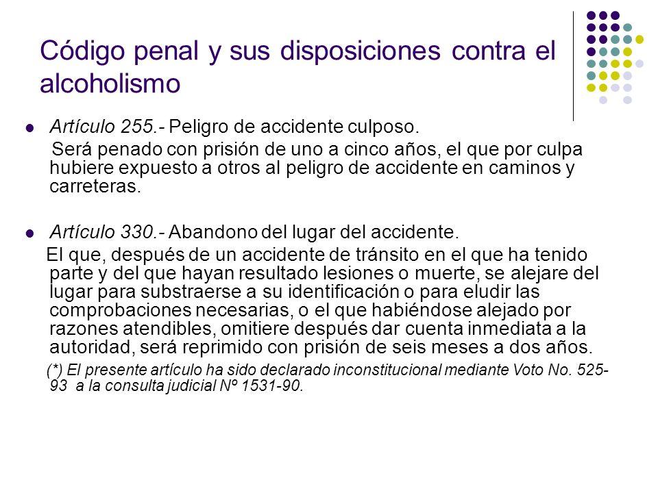 Código penal y sus disposiciones contra el alcoholismo Artículo 255.- Peligro de accidente culposo. Será penado con prisión de uno a cinco años, el qu