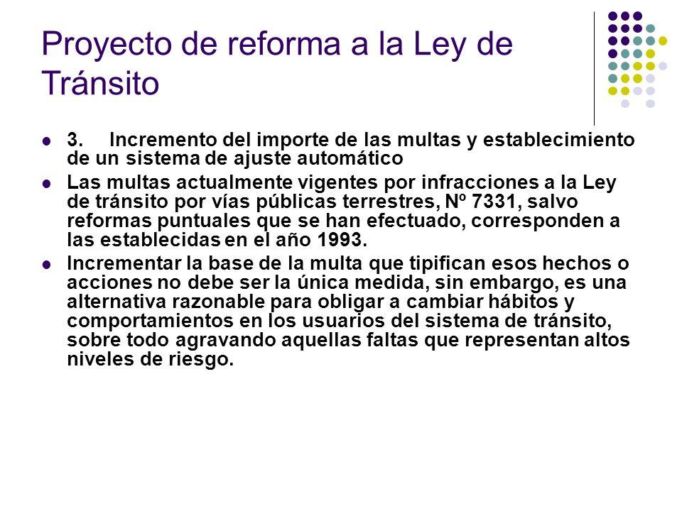Proyecto de reforma a la Ley de Tránsito 3.Incremento del importe de las multas y establecimiento de un sistema de ajuste automático Las multas actual