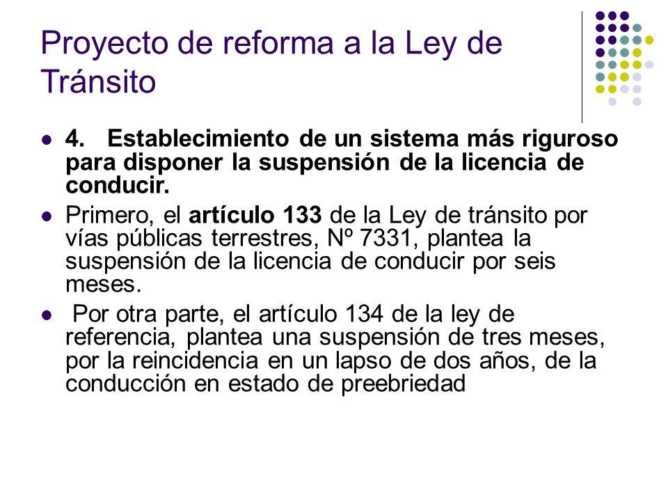 Proyecto de reforma a la Ley de Tránsito 4.Establecimiento de un sistema más riguroso para disponer la suspensión de la licencia de conducir. Primero,