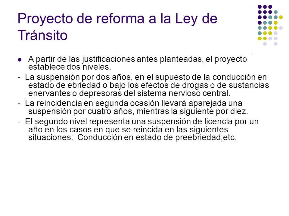 Proyecto de reforma a la Ley de Tránsito A partir de las justificaciones antes planteadas, el proyecto establece dos niveles. - La suspensión por dos