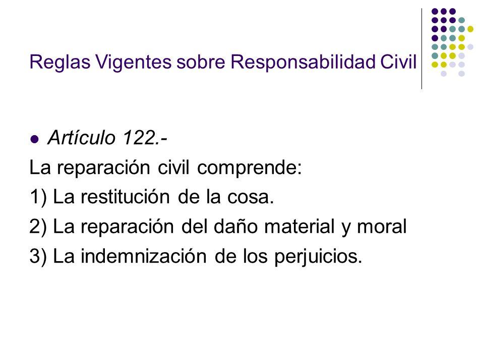 Reglas Vigentes sobre Responsabilidad Civil Artículo 122.- La reparación civil comprende: 1) La restitución de la cosa. 2) La reparación del daño mate