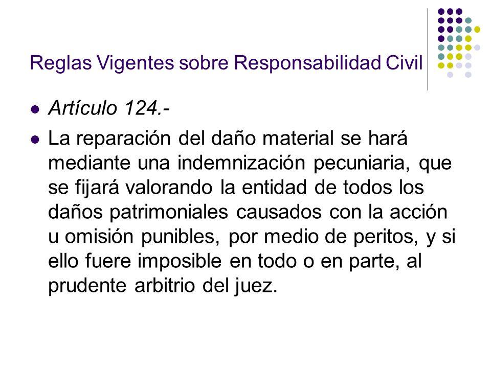 Reglas Vigentes sobre Responsabilidad Civil Artículo 124.- La reparación del daño material se hará mediante una indemnización pecuniaria, que se fijar