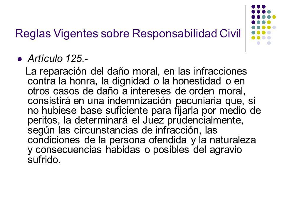 Reglas Vigentes sobre Responsabilidad Civil Artículo 125.- La reparación del daño moral, en las infracciones contra la honra, la dignidad o la honesti