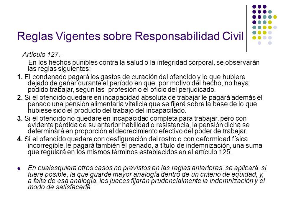 Reglas Vigentes sobre Responsabilidad Civil Artículo 127.- En los hechos punibles contra la salud o la integridad corporal, se observarán las reglas s