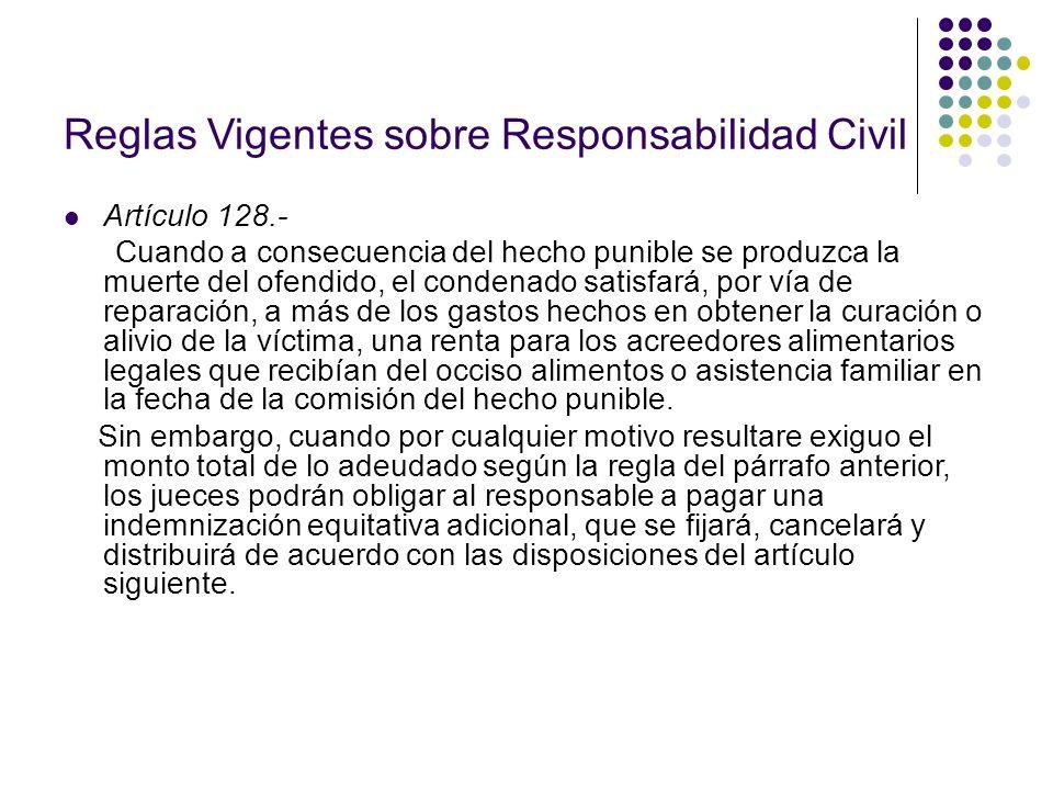 Reglas Vigentes sobre Responsabilidad Civil Artículo 128.- Cuando a consecuencia del hecho punible se produzca la muerte del ofendido, el condenado sa