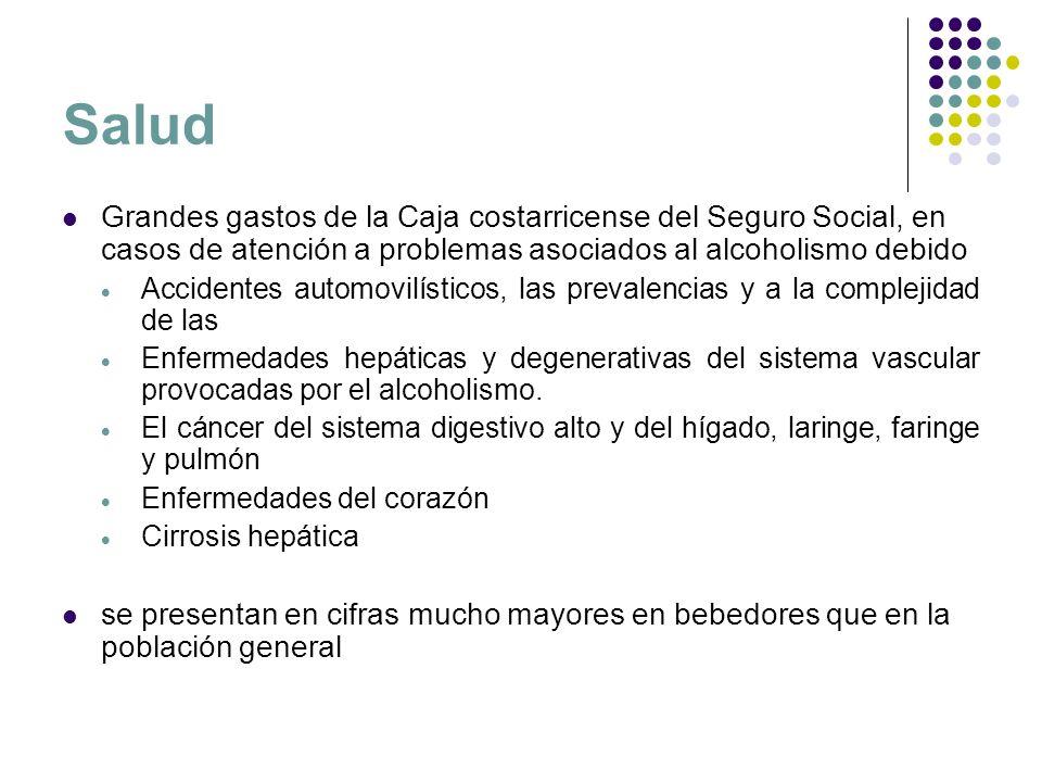 Salud Grandes gastos de la Caja costarricense del Seguro Social, en casos de atención a problemas asociados al alcoholismo debido Accidentes automovil