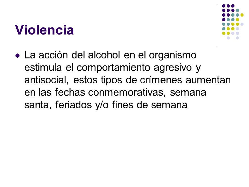 Violencia La acción del alcohol en el organismo estimula el comportamiento agresivo y antisocial, estos tipos de crímenes aumentan en las fechas conme