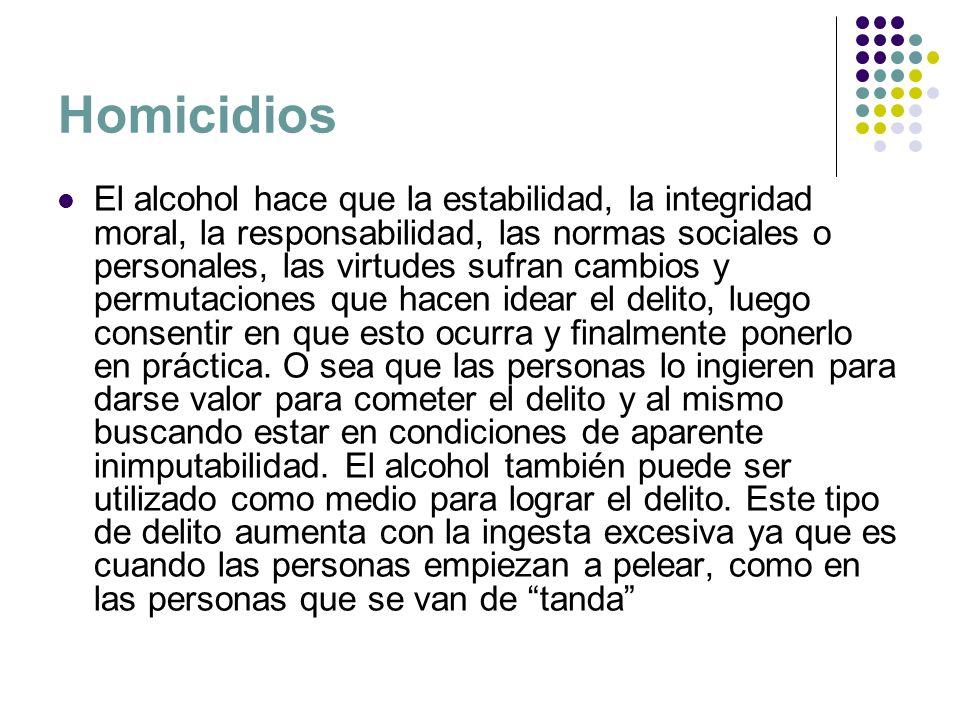 Homicidios El alcohol hace que la estabilidad, la integridad moral, la responsabilidad, las normas sociales o personales, las virtudes sufran cambios