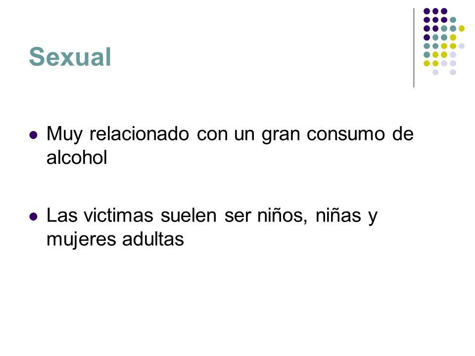 Sexual Muy relacionado con un gran consumo de alcohol Las victimas suelen ser niños, niñas y mujeres adultas