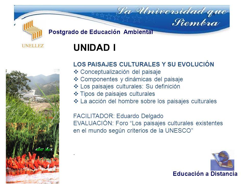 UNIDAD I LOS PAISAJES CULTURALES Y SU EVOLUCIÓN Conceptualización del paisaje Componentes y dinámicas del paisaje Los paisajes culturales: Su definici
