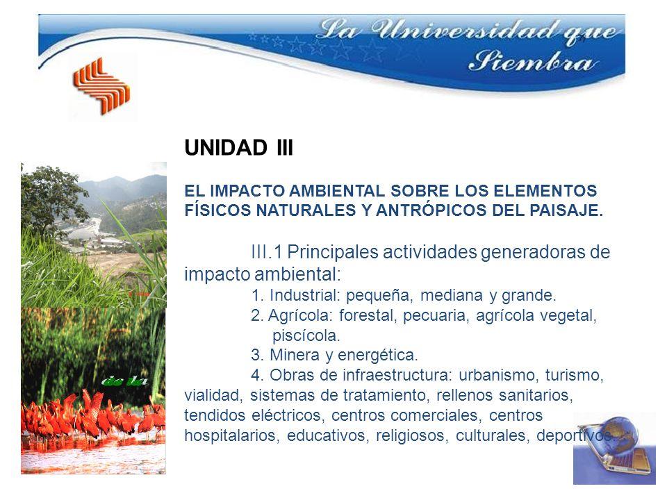 UNIDAD III EL IMPACTO AMBIENTAL SOBRE LOS ELEMENTOS FÍSICOS NATURALES Y ANTRÓPICOS DEL PAISAJE. III.1 Principales actividades generadoras de impacto a