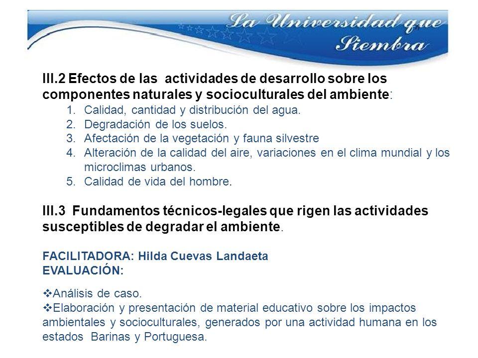 III.2 Efectos de las actividades de desarrollo sobre los componentes naturales y socioculturales del ambiente: 1.Calidad, cantidad y distribución del