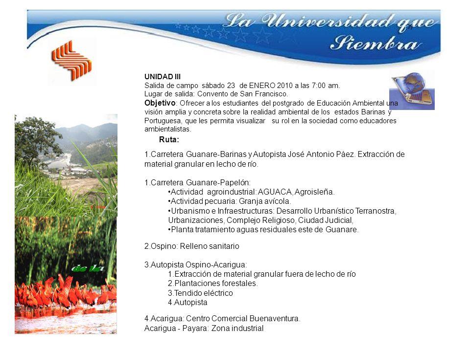 UNIDAD III Salida de campo sábado 23 de ENERO 2010 a las 7:00 am. Lugar de salida: Convento de San Francisco. Objetivo : Ofrecer a los estudiantes del