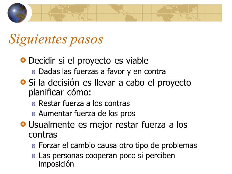 Siguientes pasos Decidir si el proyecto es viable Dadas las fuerzas a favor y en contra Si la decisión es llevar a cabo el proyecto planificar cómo: R