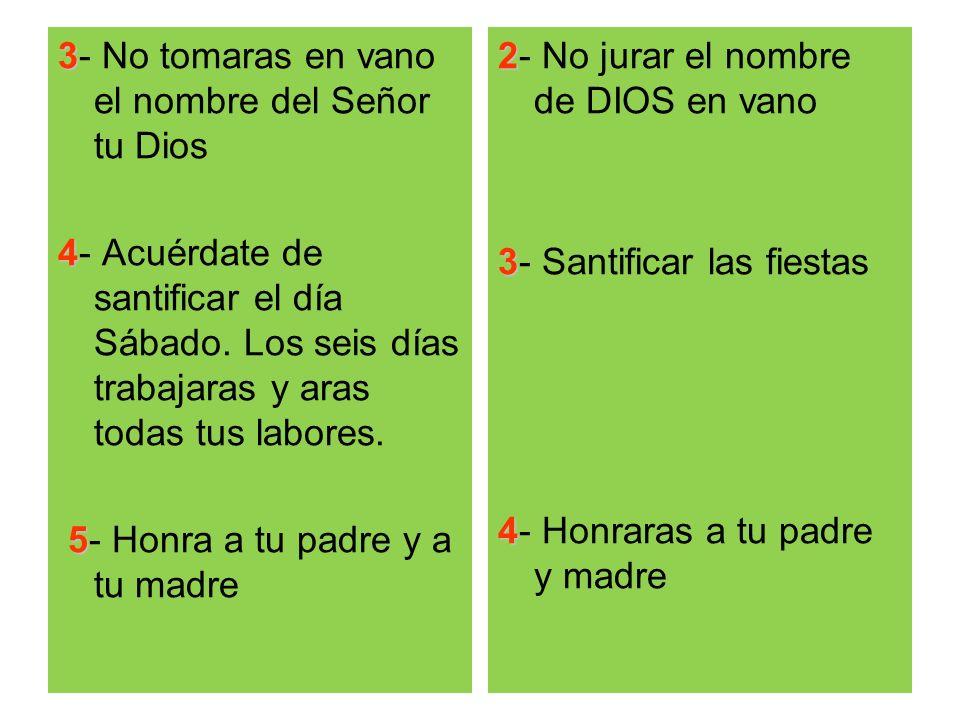 3 3- No tomaras en vano el nombre del Señor tu Dios 4 4- Acuérdate de santificar el día Sábado. Los seis días trabajaras y aras todas tus labores. 5 5