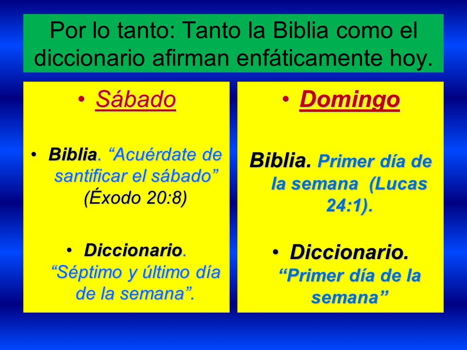 Por lo tanto: Tanto la Biblia como el diccionario afirman enfáticamente hoy. SábadoSábado Biblia. Acuérdate de santificar el sábado (Éxodo 20:8)Biblia