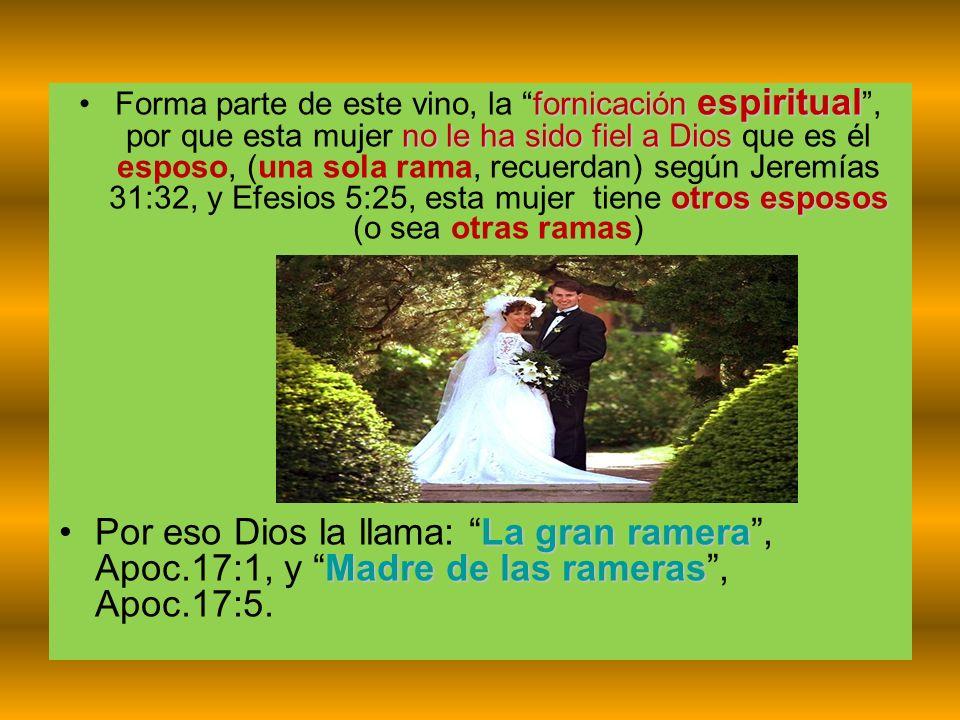 fornicación espiritual no le ha sido fiel a Dios otros espososForma parte de este vino, la fornicación espiritual, por que esta mujer no le ha sido fi