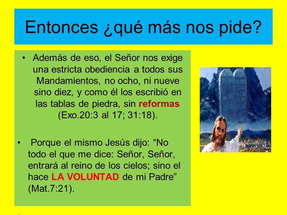 Entonces ¿qué más nos pide? Además de eso, el Señor nos exige una estricta obediencia a todos sus Mandamientos, no ocho, ni nueve sino diez, y como él