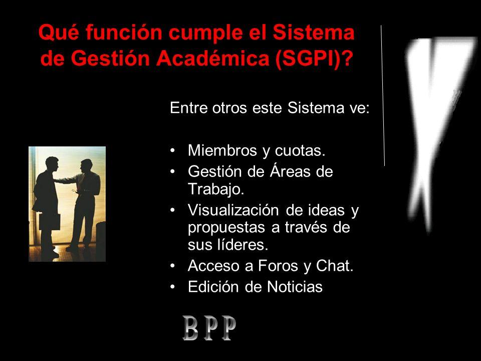 Qué función cumple el Sistema de Gestión Académica (SGPI).