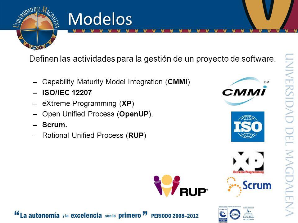 Modelos Definen las actividades para la gestión de un proyecto de software. –Capability Maturity Model Integration (CMMI) –ISO/IEC 12207 –eXtreme Prog