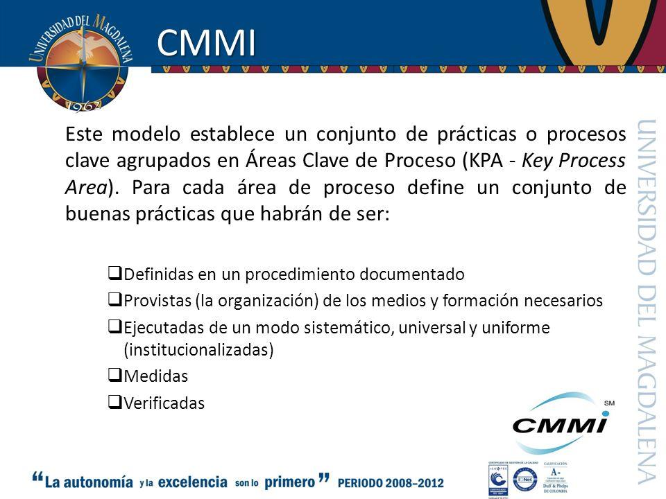 CMMI Este modelo establece un conjunto de prácticas o procesos clave agrupados en Áreas Clave de Proceso (KPA - Key Process Area). Para cada área de p