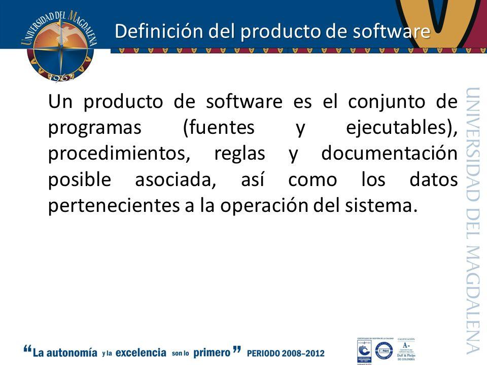 Definición del producto de software Un producto de software es el conjunto de programas (fuentes y ejecutables), procedimientos, reglas y documentació