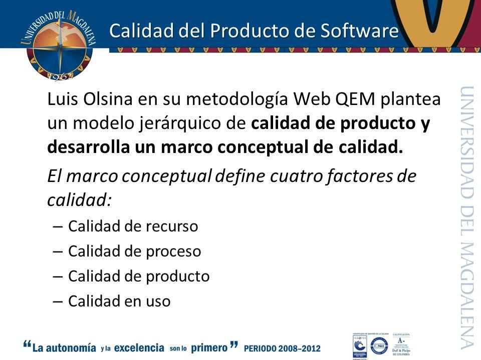 Calidad del Producto de Software Luis Olsina en su metodología Web QEM plantea un modelo jerárquico de calidad de producto y desarrolla un marco conce