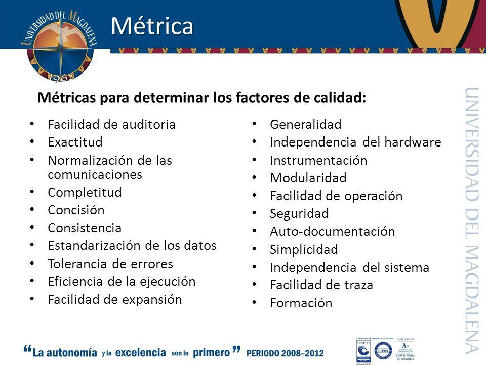 Métrica Facilidad de auditoria Exactitud Normalización de las comunicaciones Completitud Concisión Consistencia Estandarización de los datos Toleranci