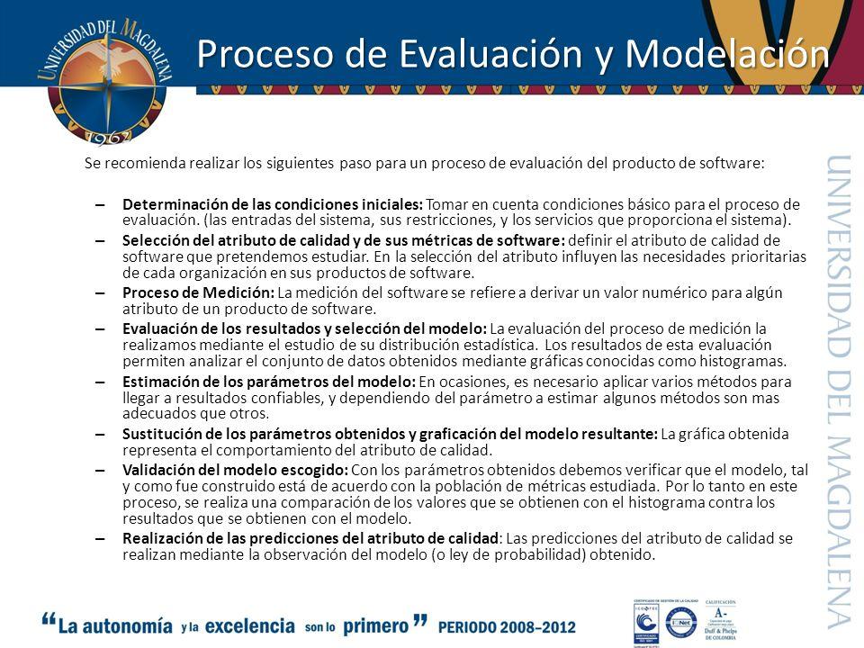 Proceso de Evaluación y Modelación Se recomienda realizar los siguientes paso para un proceso de evaluación del producto de software: – Determinación